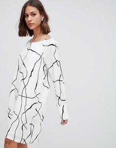 Платье А-силуэта с принтом Minimum - Белый