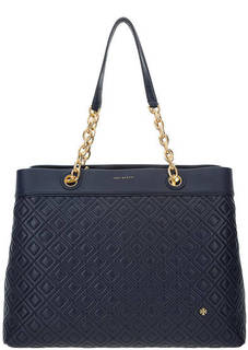 Кожаная сумка синего цвета Tory Burch