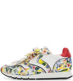 Разноцветные кожаные кроссовки с текстильными вставками Voile Blanche