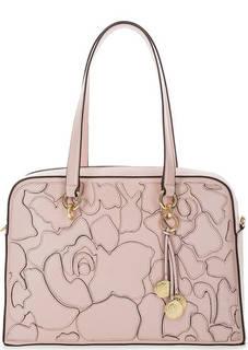 Розовая кожаная сумка с нашивками Dkny