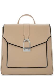 Бежевый кожаный рюкзак с откидным клапаном La Martina
