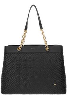 Кожаная сумка черного цвета Tory Burch