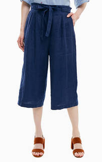 Льняные брюки кюлоты синего цвета United Colors of Benetton