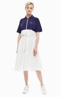Хлопковое платье с отложным воротничком Lacoste