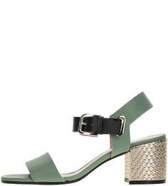 Кожаные босоножки на каблуке Pollini