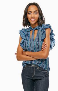 Трикотажная блуза с завязками на шее United Colors of Benetton