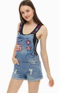 Рваный джинсовый комбинезон с шортами Superdry