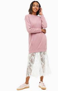 Розовое хлопковое платье с кружевной вставкой United Colors of Benetton