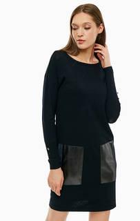 Черное трикотажное платье с накладными карманами Liu Jo