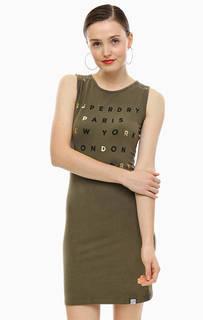 Короткое хлопковое платье с кружевной вставкой на спине Superdry