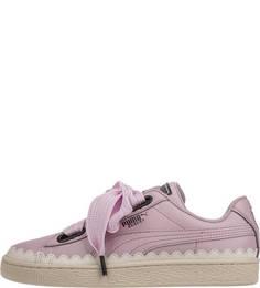 Розовые кожаные кеды Puma