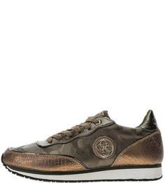 Коричневые кроссовки на шнуровке Guess