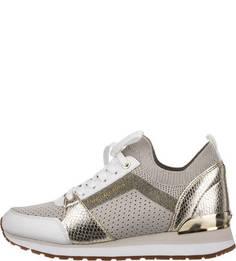 Текстильные кроссовки с выделкой под рептилию Michael Kors