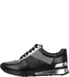 Кожаные кроссовки с текстильными вставками Michael Kors