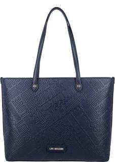 Синяя сумка с длинными ручками Love Moschino