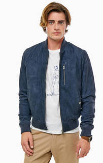 Синяя замшевая куртка бомбер Selected