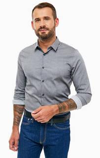 Серая приталенная рубашка из хлопка Calvin Klein