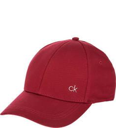 Бордовая бейсболка из хлопка Calvin Klein