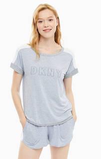 Домашний комплект из футболки и шорт в полоску Dkny