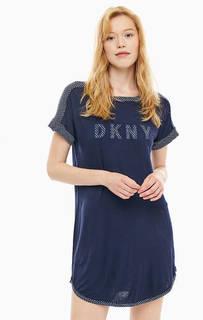 Синее домашнее платье с короткими рукавами Dkny