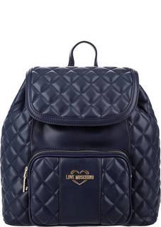 Стеганый синий рюкзак с откидным клапаном Love Moschino