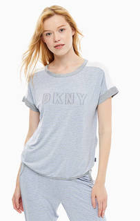 Серая домашняя футболка с нашивками Dkny