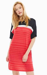 Короткое красное платье в полоску Dkny