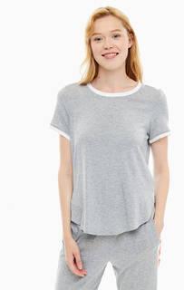 Однотонная серая футболка с круглым вырезом Dkny