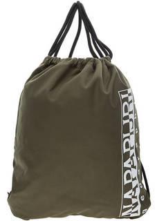 Текстильный рюкзак цвета хаки с логотипом бренда Napapijri