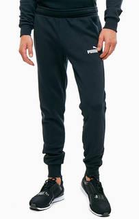 Черные хлопковые брюки джоггеры с принтом Puma
