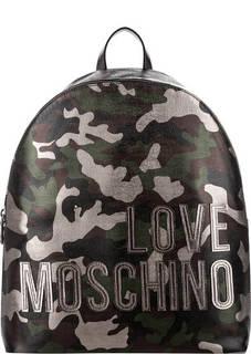Вместительный рюкзак с камуфляжным принтом Love Moschino