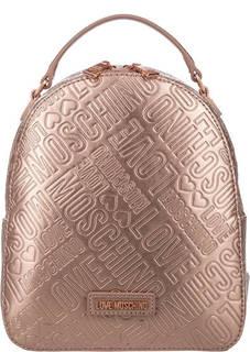 Золотистый рюкзак с тиснением Love Moschino