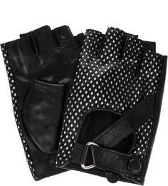 Кожаные митенки черного и серебристого цветов Karl Lagerfeld