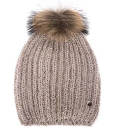 Сиреневая шапка с меховым помпоном Liu Jo