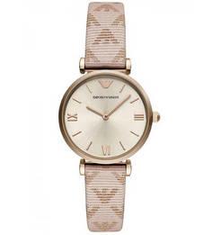 Часы с кожаным браслетом с монограммой бренда Emporio Armani