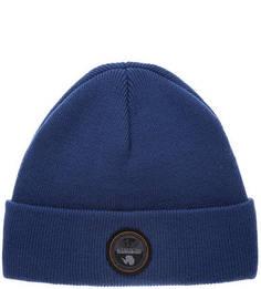 Синяя трикотажная шапка с нашивкой Napapijri