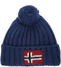 Синяя вязаная шапка с логотипом бренда Napapijri