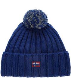 Синяя вязаная шапка с помпоном Napapijri