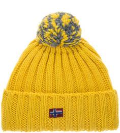 Желтая вязаная шапка с помпоном Napapijri