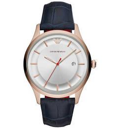Часы с кожаным браслетом с выделкой под рептилию Emporio Armani