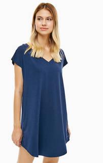 Домашнее платье синего цвета с короткими рукавами Calvin Klein