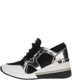 Черные текстильные кроссовки на танкетке Michael Kors