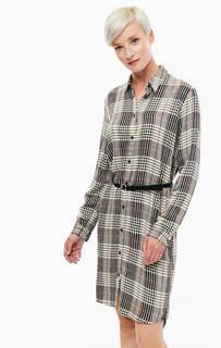 Платье-рубашка из вискозы в клетку Mavi