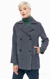 Синее двубортное пальто Stefanel