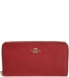 Красный кожаный кошелек на молнии Coach