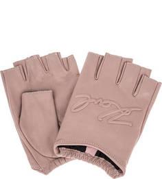 Розовые кожаные митенки Karl Lagerfeld
