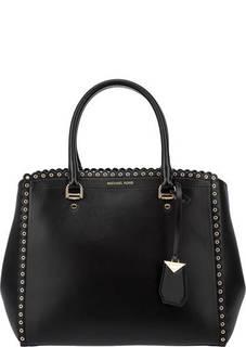 Вместительная кожаная сумка с металлическим декором Benning Michael Kors