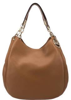 Коричневая сумка из мягкой кожи Fulton Michael Kors