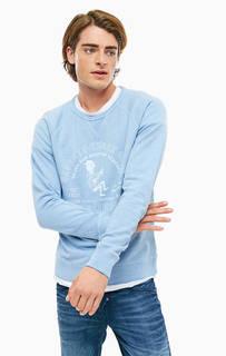 Синий свитшот из хлопка с принтом Pepe Jeans