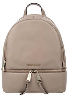 Бежевый кожаный рюкзак Rhea Zip Michael Kors